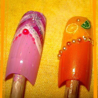 Nail-Art Fruits fimo et rose
