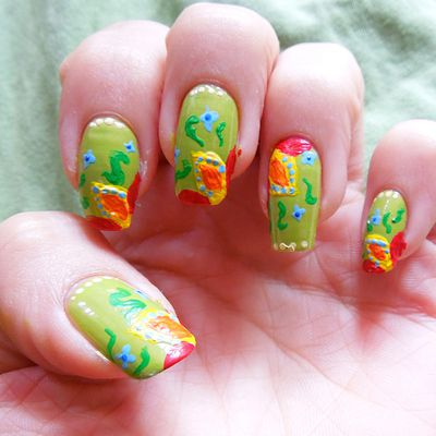 Green Colorful Summer Nails