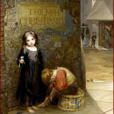 """""""Enfants et fleurs """" par les grands peintres (46) -  Augustus Edwin Mulready (1863 -1905)"""