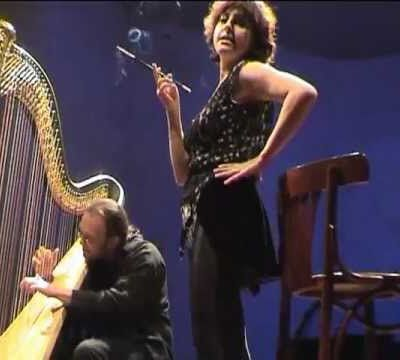 Myriam sings Blue Angel's song, with harpist Park Stickney