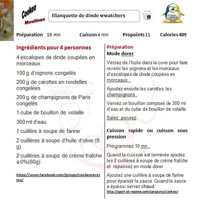 Fiche cookeo blanquette de dinde weight watchers