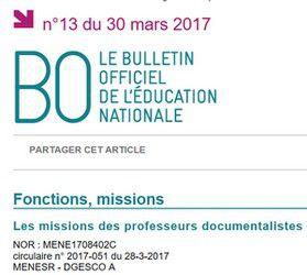 Circulaire n° 2017-051 du 28-3-2017 relative aux missions des professeurs documentalistes