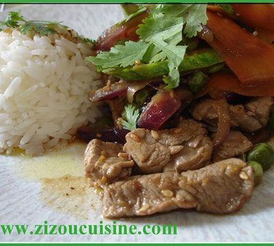 Wok de bœuf aux légumes de saison, à l'asiatique