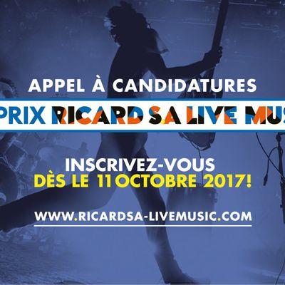 Les inscriptions au PRIX RICARD LIVE MUSIC 2018 sont ouvertes jusqu'au 22 novembre