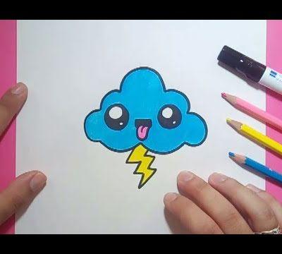 Como dibujar una nube kawaii paso a paso