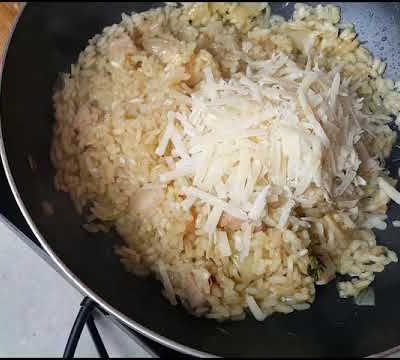 Risotto aux champignons et dés de porchetta