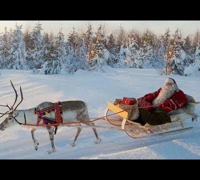 *** Père Noël & renne départ en Laponie vue du ciel - Finlande - Rovaniemi Petit Papa Noël ***