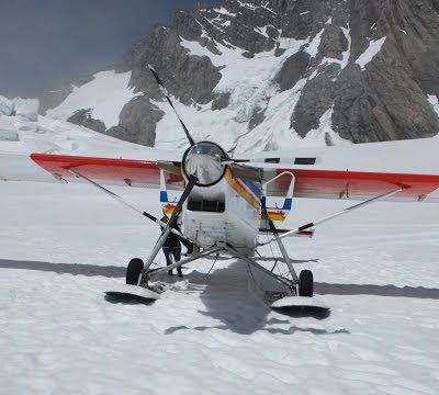 STOL Pilatus Porter landing on a glacier in New Zealand HD