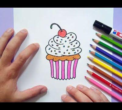 Como dibujar un cupcake paso a paso