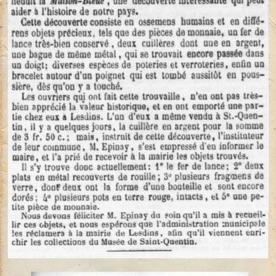 Découverte d'ossements humains à Remaucourt... Le 9 décembre 1853.