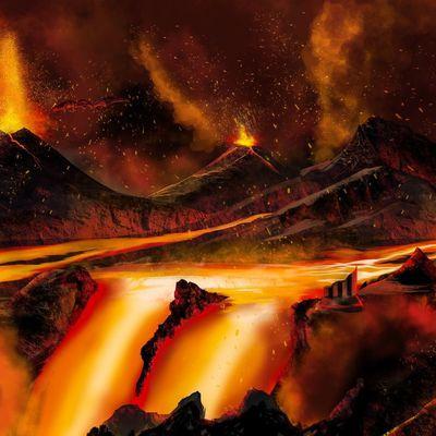 Dessin : Paysage volcanique