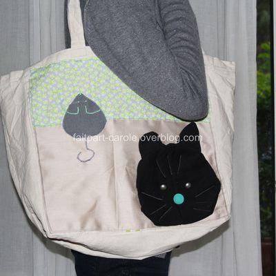sac de courses tissu chat