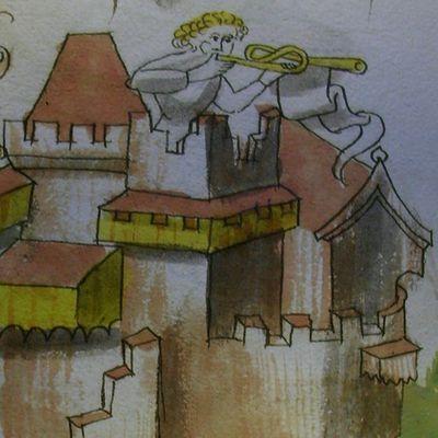 Châteaux d'Ottrott : une aquarelle du XVème siècle