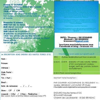 Inscriptions 6ème Enduro VTT des Hautes Terres d'oc 14&15 oct 2017