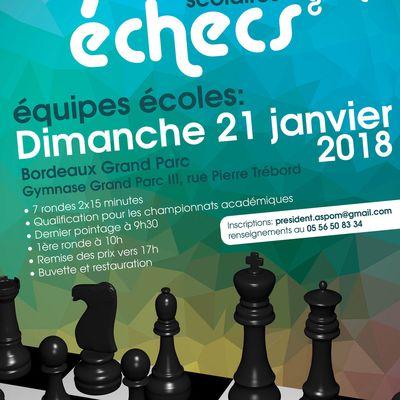 Ce dimanche ! Championnat scolaire d'échecs de Gironde : l'école Charles Martin y participe