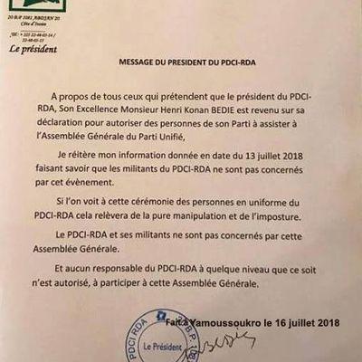 PDCI RDA LA MENACE A PEINE VOILEE DE DRAMANE OUATTARA, ET POURTANT LE DIVORCE SERA CONSOMME!