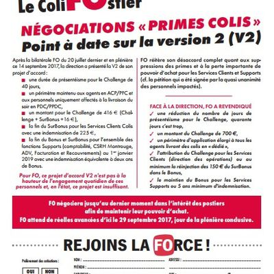 INFO : Le ColiFOstier – Négociations « Primes Colis » – Point à date sur la version 2 (V2)
