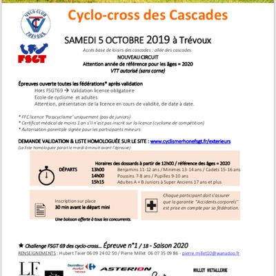 CYCLO CROSS DE TREVOUX SAISON 2020