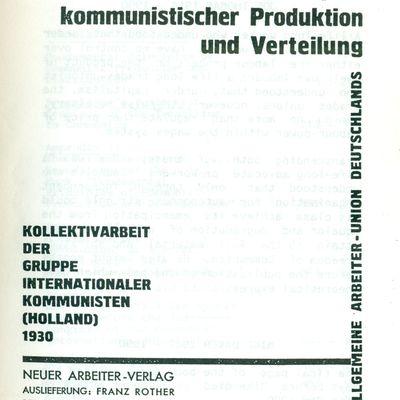 La période de transition du capitalisme au communisme vue par le KAPD (1924)