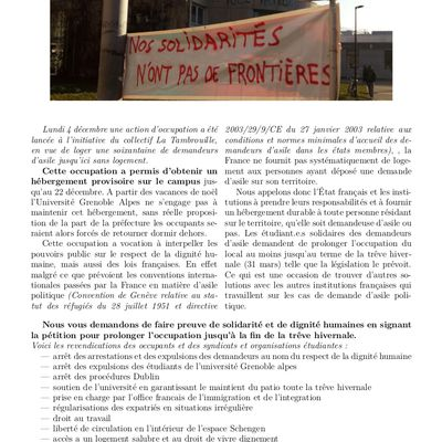 Tract et revendications du Patio Solidaire - campus universitaire - Grenoble