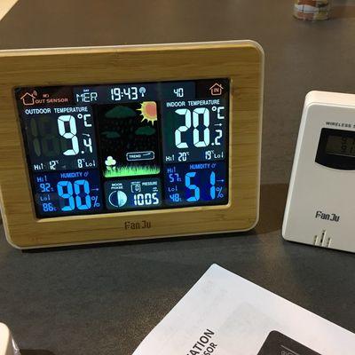 Station météo FanJu FJ3365 avec écran LCD coloré avec alerte, Température, Humidité, Baromètre, Alarme, Phase de lune