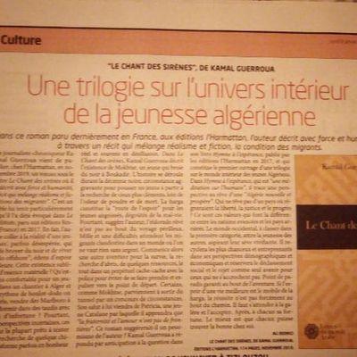 """""""LE CHANT DES SIRÈNES"""", DE KAMAL Une trilogie sur l'univers intérieur de la jeunesse algérienne GUERROUA"""