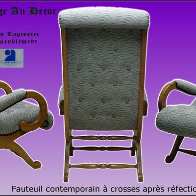 Fauteuil contemporain à crosses, Du Siège Au Décor,Tapissier d'Ameublement