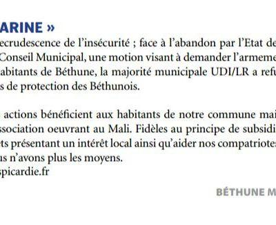 Tribune Béthune Bleu Marine / Novembre 2016