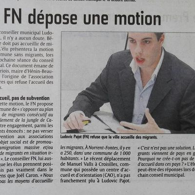 "Motion ""Ma commune sans migrants"" (Article de L'Avenir de l'Artois)"