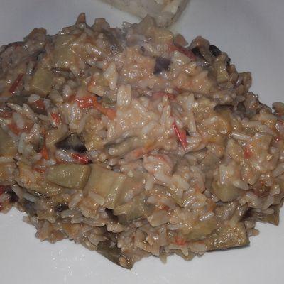 riz aux aubergines et à la mozzarella