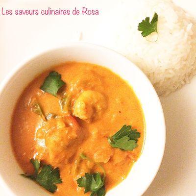 Crevettes thaïs (au curry rouge et au lait de coco)