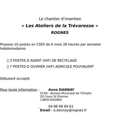 """Le chantier d'insertion """"Les Ateliers de la Trévaresse"""" recrute en CDDI"""