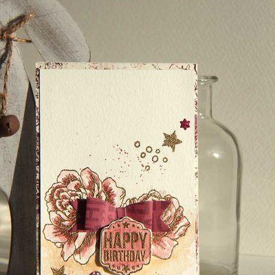 "Carte ""Entre Rose et Or"""