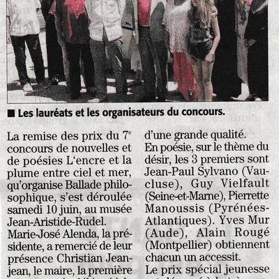 """CONCOURS """"L'ENCRE & LA PLUME ENTRE CIEL & MER"""""""