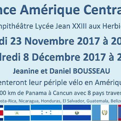 Conference Voyage à vélo Amerique Centrale - Lycée Jean XXIII Les Herbiers 23 Novembre et 8 Décembre
