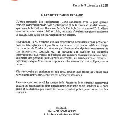 Communiqué de l'UNC concernant la profanation de l'Arc de Triomphe