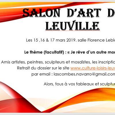 Le chouette salon d'art de Leuville, ce sera en mars, pensez à vous inscrire