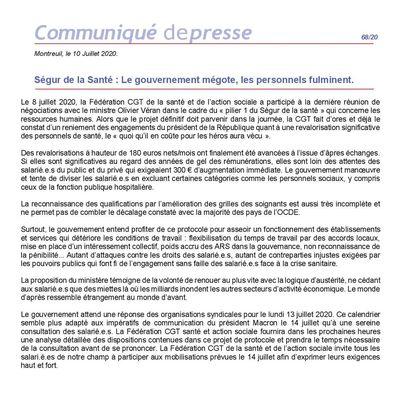 CGT : Ségur de la Santé,  le gouvernement mégote, les personnels fulminent.