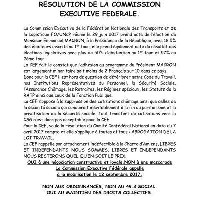 Résolution de la Commission Exécutive Fédérale du 29 juin 2017 : RDV le 12/09/2017