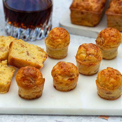 Mini cake au bacon, oignon et fromage