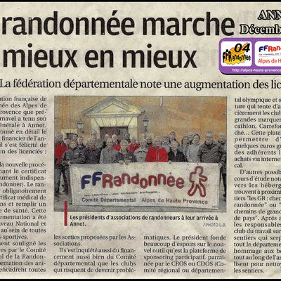 REUNION des PRESIDENTS des ASSOCIATIONS de la FFRANDONNEE 04 - Décembre 2017
