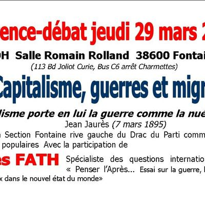 29 mars 2018 20H, R. Rolland Fontaine: Capitalisme, guerres, migrations