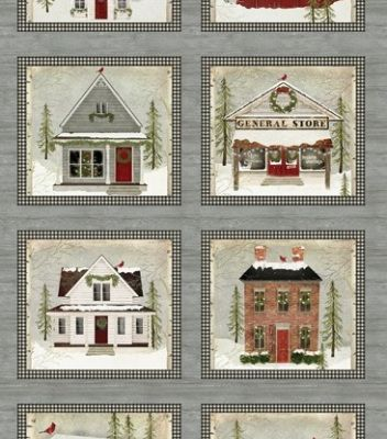 Collection de tissu patchwork rustic village christmas