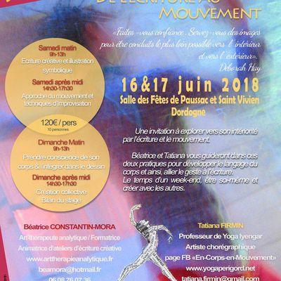 De l'Ecriture au Mouvement, Stage d'Expression Créative en Dordogne le 16 et 17 juin 2018