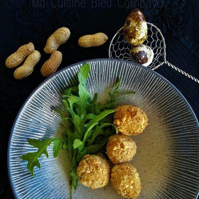 Oeufs de Caille Mollets, panés aux Cacahuètes