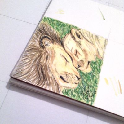 Toile collective: 1ère oeuvre Lions