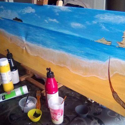 suite du tableau de Victoria Lynn et réparation du trou dans la toile