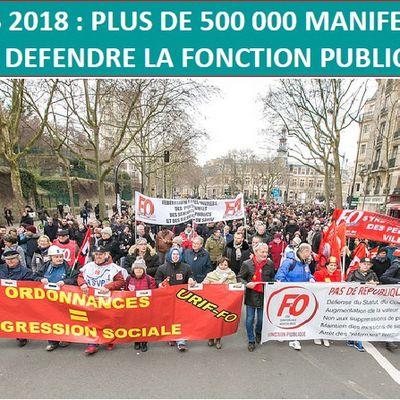 22 mars 2018 : plus de 500000 manifestants pour défendre la fonction publique ! Cheminots : impressionnante mobilisation