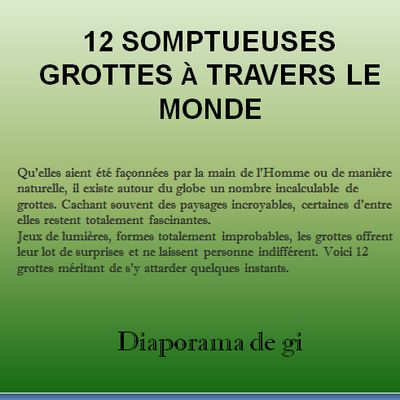 12 somptueuses grottes