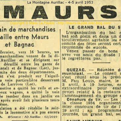 Accident de train en 1953 entre Maurs et Bagnac